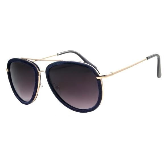 1bace8340e Retro Aviator Sunglasses Velour Classic Pilot Blue